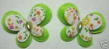 Padded Felt Fabric Printed Butterfly Appliques/Craft x40 Green Cardmaking