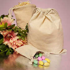 """6ct. Plain Cotton Muslin Pouch Bags with Double Knotted Draw String 9""""x12"""""""