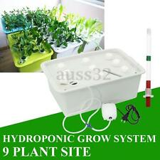 9 Plant Sites Spots Grow Deep Water Culture Kit System Bubble Tub Hydroponics