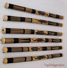 "Original Bamboo Rain stick 39"" Handcarved Dot-Painted Shaker VINTAGE Rainmaker"