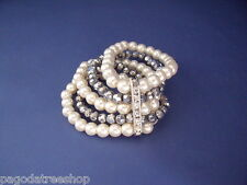New Bracelet of Faux Pearls with Silver Beads & Diamante Studded Silver Bar