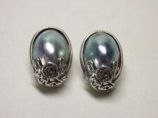 Elegante Marbeperle Perle Silberohrclip Ohrclip Ohrstecker Earring Silber Nr.56