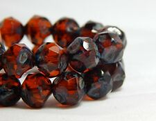 15 8mm Root Beer Dark Topaz Central Cut Round Beads  Quality Czech Glass T-86A