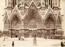 France, Reims, La Cathédrale Notre-Dame Vintage albumen print.  Tirage albumin