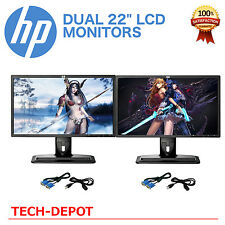 "DUAL Matching HP 22"" Widescreen LCD Monitors Pair with cables Gaming / Office"