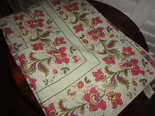 APRIL CORNELL GREEN RED YELLOW PINK PURPLE FLORAL OBLONG TABLECLOTH 70 X 102