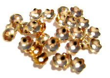 9664FD Bead Cap Cup Gold ptd brass, 4mm Flower, fits 4 to 6mm beads, 100 Qty