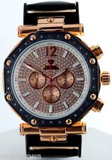 Aqua Master Men's Gold Rose Tone Chronograph Dial Genuine Leather Watch W147-1