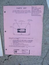 1973 Quincy Model W-264 W-280 Air Compressor Parts List Record of Change  R