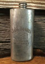 Jack Daniels Pewter Broken Wheel Flask - Damaged
