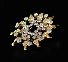Sunburst Clear Austrian Crystal Gold Plated Brooch Pin & Shawl Scarf Clip New