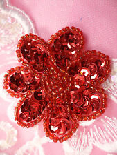 """JB175 Floral Red Beaded Sequin Applique Flower Patch for Sewing and Crafts 2"""""""