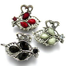 "Lot of 3 Small 1"" Antiqued Silver Black Gray Red Leaf Stone Hair Claw Jaw Clips"