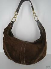 COACH Chocolate Brown Suede Leather Brass Hardware Top Stitching Hobo Handbag