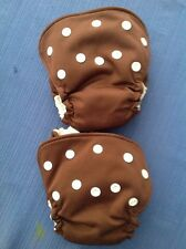 2 Brown newborn all in one cloth diapers