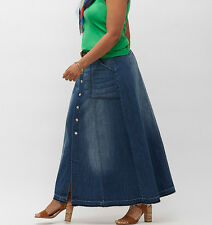 "NWT 22 3x Lane Bryant Long Denim Maxi Skirt Distressed 43x41"" Cut Hem Button"