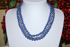 GREAT MULTI STRAND NECKLACE PEACOCK BLUE FAUX PEARLS & SILVER TONED METAL CHAIN