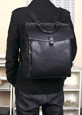 Mens Women Backpack PU Leather Shoulder Laptop Bag Black Schoolbag Back Student