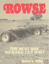 Farm Equipment Brochure - Rowse - Hydraulic Hay Rakes 2 3 sections c1986 (F2880)
