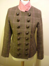 RYDALE JACKET COUNTRY HORSE FIELD MILITARY WOOL GREEN TWEED PINK CHECK UK 12