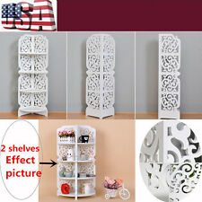 HOME Wood Carving White Chic Corner Shelf Bookcase Display Storage 4-Tier