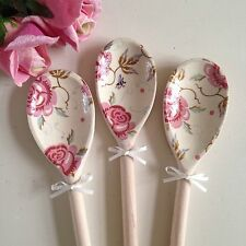 Emma Bridgewater Rose & Bee Set 3 Decorative Wooden Spoons Shabby Chic Kitchen