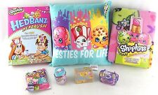 Shopkins Christmas/Holiday Lot All New Blanket + Pillow + Hedbanz Game + Figures