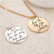 Learn From Yesterday Live For Today Necklace Chain Gift Christmas UK