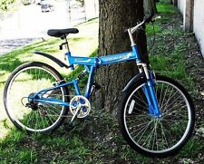 "New 26"" Folding Mountain Bicycle Foldable Bike 7 Speed Shimano blue mtb"