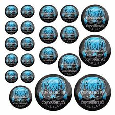 21 Premium Domed Round 3M Decal Sticker Set Car Truck - Black Flame Skull Blue