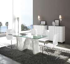 DT-04 Dupen Design Esstisch aus gehärtetem Glas Hochglanz Weiß Tisch 180 cm