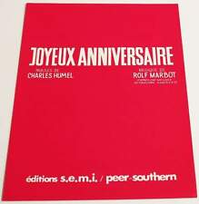 Partition sheet music CHARLES HUMEL / ROLF MARBOT : Joyeux Anniversaire * 50's