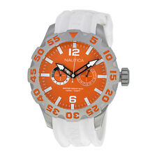 Nautica BFD 100 Multi-Function Orange Dial White Resin Mens Watch A16617G