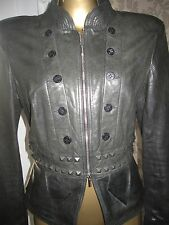 Karen Millen Grey/Black Military Style Leather Jacket Size 14