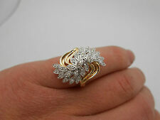 Gorgeous Large Estate Fancy 14k Solid Gold Diamond Cocktail Ring Size 6