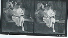 Vue stereoscopique NU stereoview NUDE Photo Femme Jarretiere nue Academique