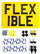 """8"""" x 6"""" Flexible Number Plate with Fixing Kit - Motorcycle Motorbike Enduro 8x6"""
