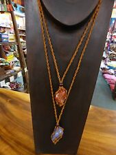 1xBrown Hemp mix Necklace for Tumble Stone (Interchangeable) stone not included