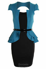 Ladies Square Neck Peplum Belted Cap Sleeve Jacket Black Skirt Women's Dress