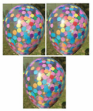 Clear Confetti Balloons Rainbow Party Supplies/ Decorations - Pack of 3 -