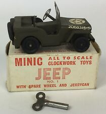 Tri-ang Minic Rare All Original Vintage Clockwork Military USA Army Jeep, Boxed