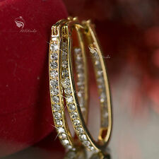 18k yellow gold gp made with SWAROVSKI crystal hoop stud earrings oval hoops