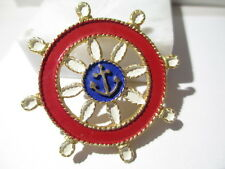 PIN RED WHITE BLUE ENAMEL SHIP WHEEL & ANCHOR NAUTICAL PATRIOTIC CRUISE SIGNED