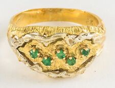 18K GOLD & EMERALDS CIGAR BAND RING