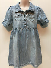 Old Navy 100% Cotton Denim Stripes Blue Dress Size Girl 5T