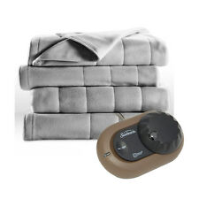 Sunbeam Heated Electric Blanket Royal Dreams Quilted Fleece Twin Misty Grey