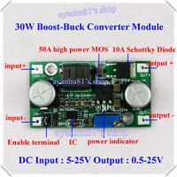 30W DC 12V 24V 3A Adjustable Boost-buck Converter LED Step Down Up Power 5V-25V