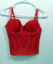 Rampage Red Polka Dots Bustier Corset Camisole Sexy Bombshell Lingerie Boned, Lg