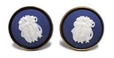 "Wedgwood: ""Antiqued"" Brass & Jasperware Cameo Cufflinks ""3 Graces"" Blue & White"