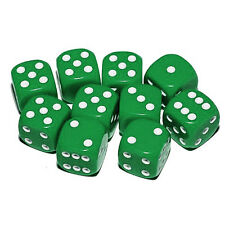 Dice - 10 x 16mm 6 sided spot dice - GREEN